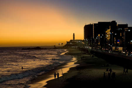 Lighthouse in Salvador de Bahia, Sunset at Barra Beach - Best of Brasil Stock Photo