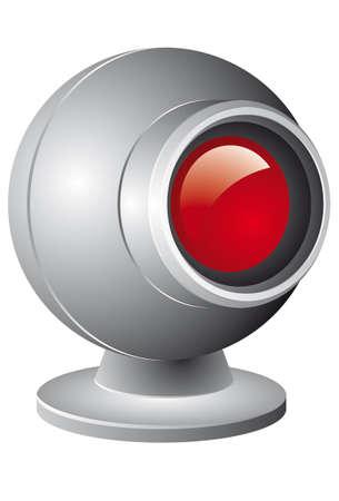 webcam: Webcam illustration with red lens isolated on white background Illustration