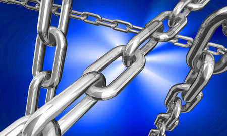 shackle: 3d illustration of some silver chains on dark blue background