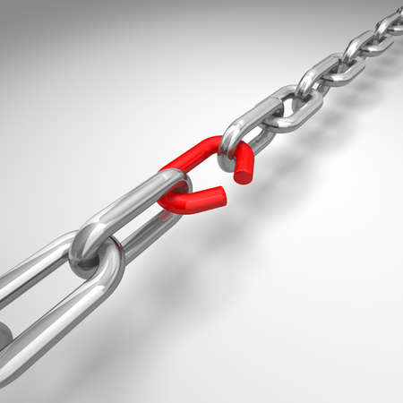 linked chain: 3d illustration of a broken silver chain - conceptual image