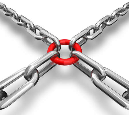 combining: 3d illustration of a red ring with chains - conceptual image - strong group