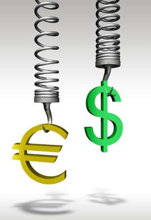 Euro Dollar comparison - 3d concept image photo