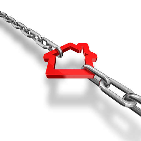 row of houses: 3d illustration of a red house symbol blocked with chains - conceptual image Stock Photo