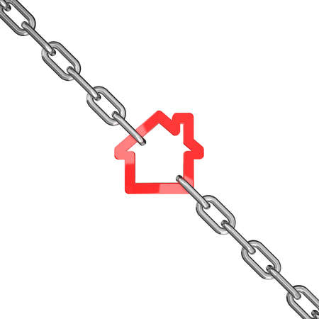 blocked: 3d illustration of a red house symbol blocked with chains isolated on white background - conceptual image Stock Photo