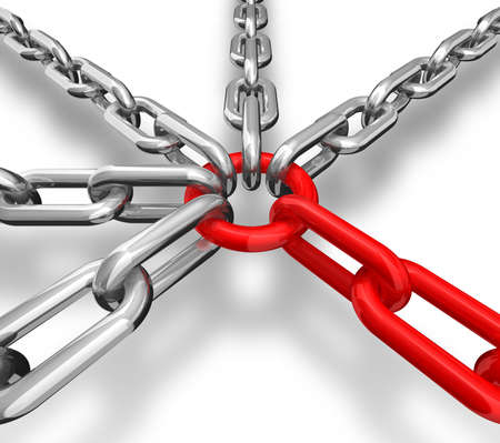 conceptual image: 3d illustration of a group of red and silver chain - conceptual image