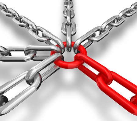 la union hace la fuerza: Ilustraci�n 3D de un grupo de cadena rojo y plata - imagen conceptual  Foto de archivo