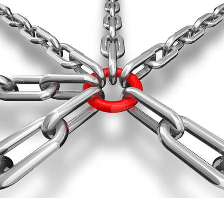 heavy risk: 3d illustration of a group of silver chain - conceptual image Stock Photo