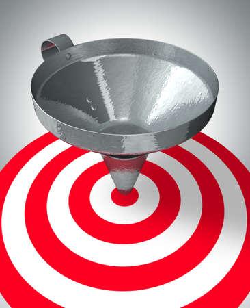 target business: Una ayuda de embudo al centro de la meta - el concepto de negocio  Foto de archivo
