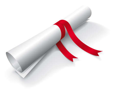 rolled paper: Diploma wrapped with a red ribbon on white background