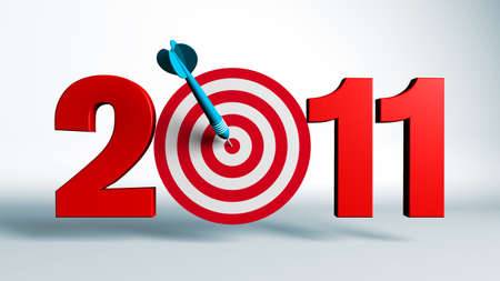 New Year 2011 whit a red and target and dart - 3d render business concept Stock Photo - 8115493