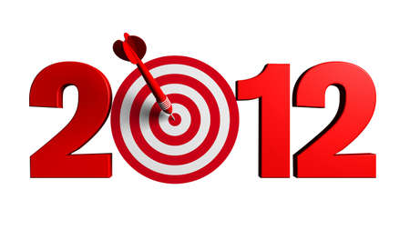 Next New Year 2012 whit a red and target and dart - 3d render business concept Stock Photo - 8254426