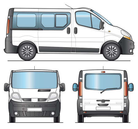 minivan: Minibus, Minivan combi template - Layout for presentation  Stock Photo
