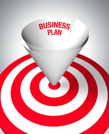 Winning business plan - A paper funnel help to center the target - business concept. 3D image. photo