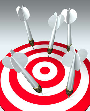 looser: Five darts hit the target, but none hits the mark. Failure business concept. 3D image.
