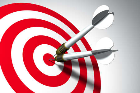 Two arrows on red target - business concept Imagens