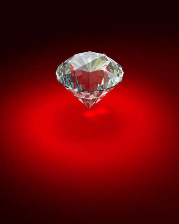 Bright diamond on red background - 3d render image. photo