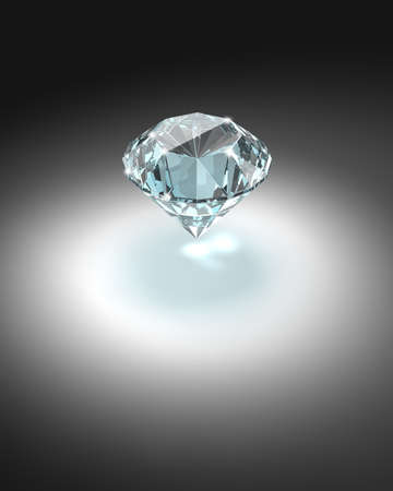 Bright diamond on dark background - 3d render image. photo