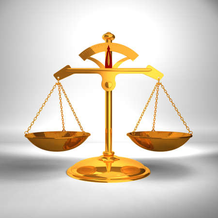 Justice concept - Gold Balance - 3D render image. Stock Photo - 8958565