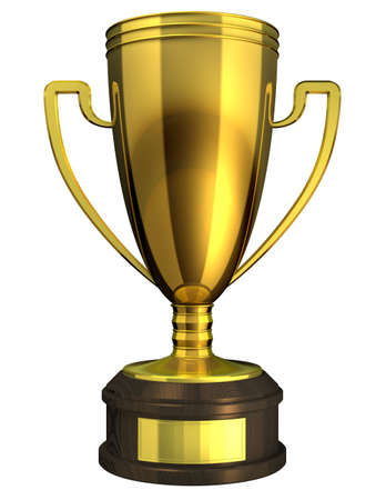 Gold Cup, Award - 3d rendered image of a trophy isolated on whote background. Stock Photo