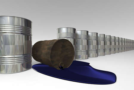 Risk of crude oil pollution, conceptual image, 3D render image. Stock Photo - 9143767