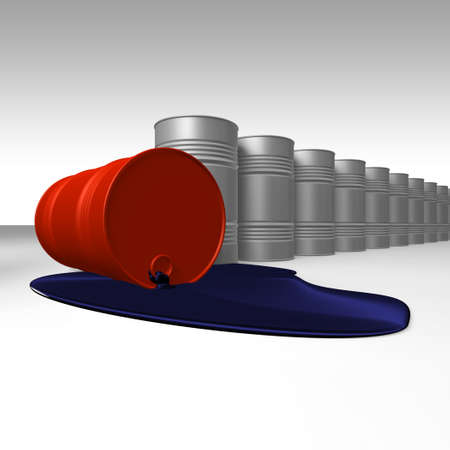 Risk of crude oil pollution, conceptual image, 3D render image. Stock Photo - 9143756