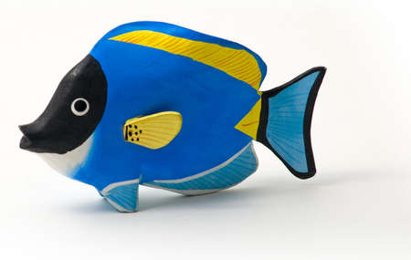 surgeon fish: Surgeon fish stained wood - toy - souvenirs of tropical seas. Stock Photo