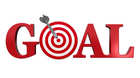 Goal text. A red dart center target, isolated on white - Business concept. photo