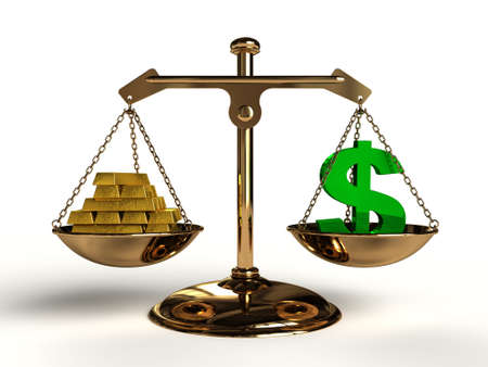 compared: The value of Money. On a golden balance, are compared in a green dollar symbol and a lot of gold bullion, computer-generated conceptual image.
