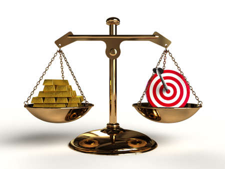 compared: The value of Target. On a golden balance, are compared in a target symbol and a lot of gold bullion, computer-generated conceptual image.