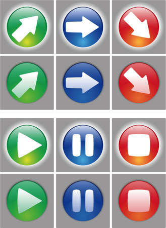stop button: Arrows and player button Icon set. Web ready button on and off status. In the vector file the symbol are in a different layer, easy to modify.
