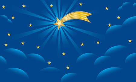 Background for Christmas nativity scene with the Star of Bethlehem on blue night sky