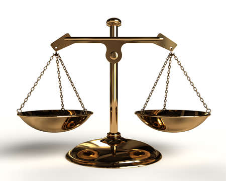 Justice concept - Gold Balance - 3D render image. photo
