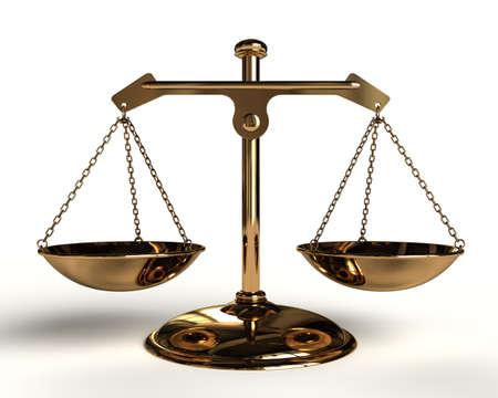 Justice concept - Gold Balance - 3D render image.
