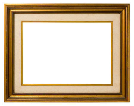 Antique double frame: gilded wood and canvas, italian style,  isolated on white background - include clipping path. photo