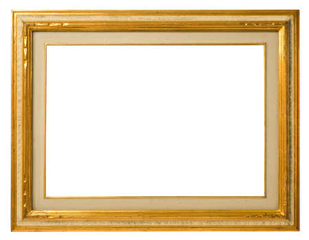 Antique gilt wood frame, italian style,  isolated on white background photo
