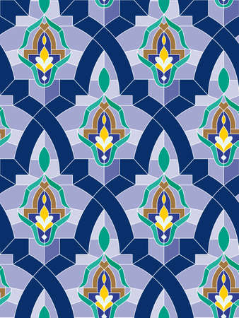 Seamless mosaic pattern in arab style with blue tone  photo