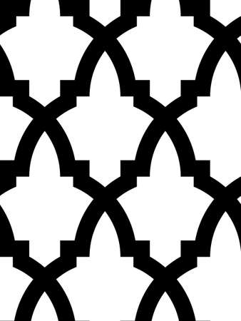 arabesque: Modello mosaico senza soluzione di continuit� in stile arabo, in bianco e nero