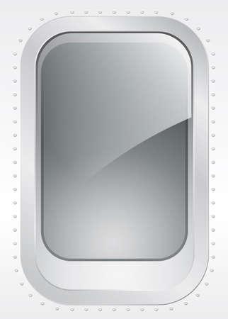 Porthole of a plane or ship, external view