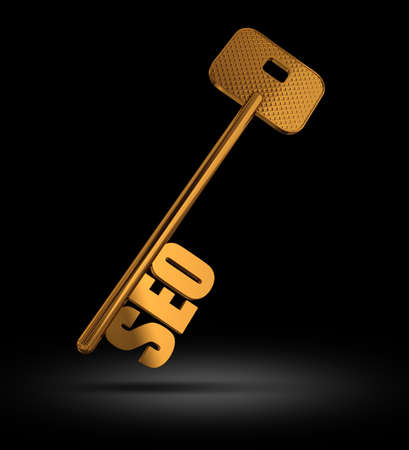 SEO gold key on black background  - symbol for Searching Engine optimization - Conceptual image photo