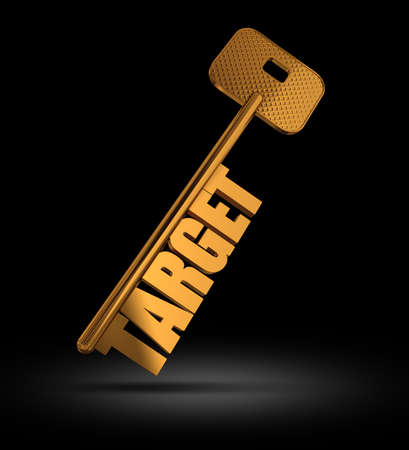 Target gold key on black background - Gold key with Target text as symbol for success in marketing - Conceptual image photo