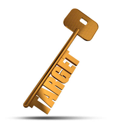 keywords: Target gold key isolated on white  background - Gold key with Target text as symbol for success in marketing - Conceptual image Stock Photo