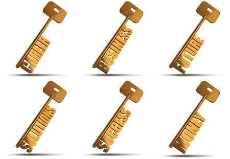 bigger: Set of gold key isolated on white  background - Look on my portfolio for bigger file size - Conceptual image