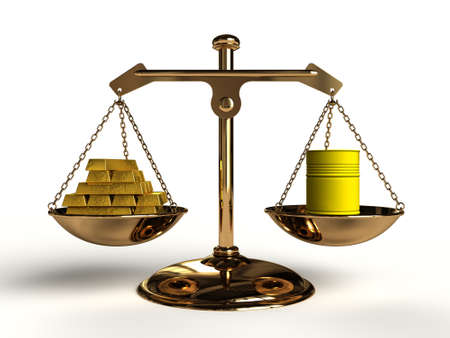 compared: The cost of Pollution; On a golden balance, are compared in a yellow oil drum and a lot of gold bullion, computer-generated conceptual image