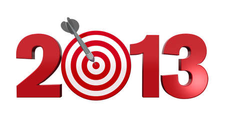 next year: Next New Year 2013  Number with red and white target, one dart hits the center of the target - 3d render illustration - success in business concept