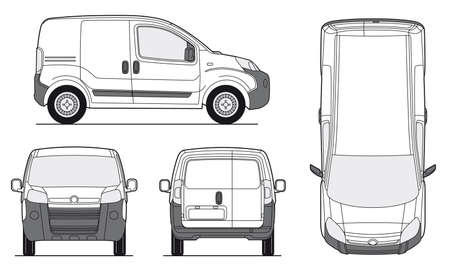 rear view: Delivery Van Template - Layout for presentation - Vector EPS-8