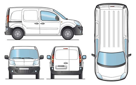 delivery van: Delivery Van Template - Layout for presentation - Vector EPS-8