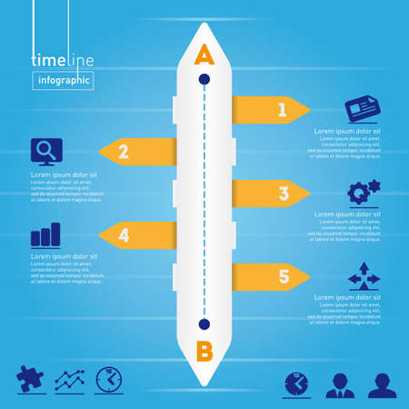 Business Infographic  Timeline style, with original icons  Concept of research, analysis and distribution of information - layered  Vector