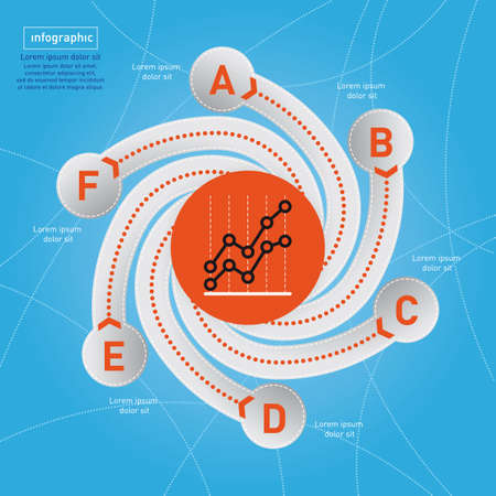 Business Infographic. Swirl style on blue background.  photo