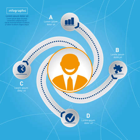 Success in business  Info graphic template winner concept  Swirl style on blue background   photo