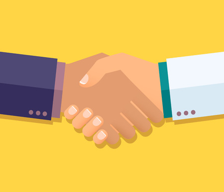 equal opportunity: Vector handshake illustration. For business and finance.